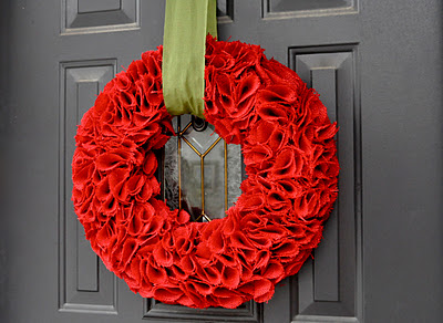 Burlap red christmas wreath valentines ideas